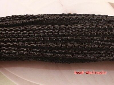 5M Black Man-made Leather Braid Rope Hemp Cord For Necklace Bracelet 3mm