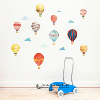 Watercolour Hot Air Balloon Cloud Removable Kids Wall Decal Vinyl Stickers Decor