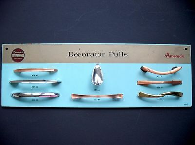 Vtg 1950's AMEROCK Drawer Knobs Pulls SAMPLE DISPLAY Board Chome Copper Brass