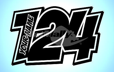 """RACE NUMBERS AND NAME DECALS STICKERS GRAPHICS """"POW"""" (x3) MOTORCYCLE CAR"""