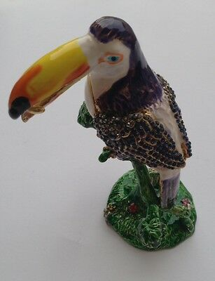 Bejeweled Parrot Bird Statue Figurine Trinket Jewelry Box