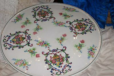 Lovely Japanese Pottery/Porcelain Cake Plate/Trivet, Colorful Floral Bouquets!