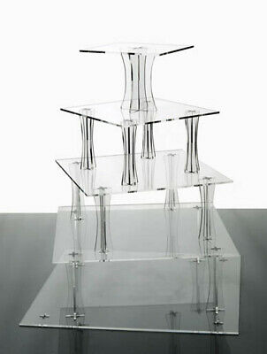 Spiral Stand 5 Tier Clear Cup Cake  Wedding Acrylics Party Tower