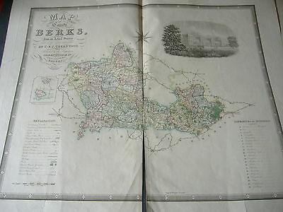 1829 England beautiful  Map of County of Berks by Greenwood engraver J.Dower