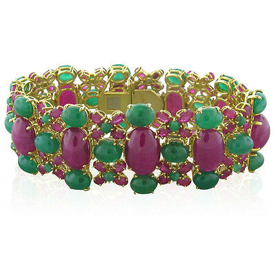 Rare Stunning Tony Duquette 18k Gold Ruby Emerald Bracelet