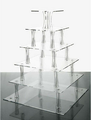 6 Tier Clear Square Shaped Acrylic Cup Cake Stand