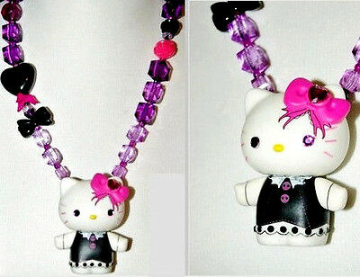 HELLO KITTY Lolita Doll Figure Pendant One Of A KinD Beaded NECKLACE Heart L Bow