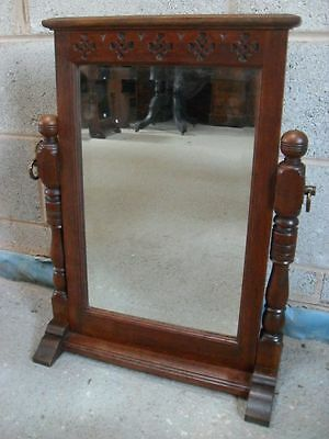 Solid Oak Victorian Arts and Crafts dressing table bevel edge swing mirror