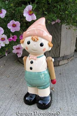 Vintage CERAMIC DOLL POINTED DUTCH HAT & WOODEN ARMS Pinocchio w/o Nose?