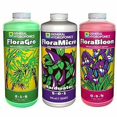 General Hydroponics Flora Series Hardwater 3 Quarts 32oz - grow micro bloom