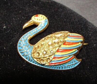 Vintage Brooch  - 1940's Enamel Painted Austrian Swan Brooch with Rhinestones