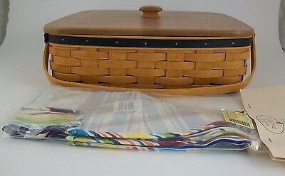 Longaberger 2005 Blue Ribbon Pie Basket Combo w Lid Sunny Day Stripe