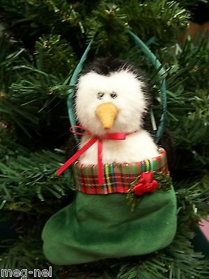 Boyds Bear * Willy * Plush Penguin in Stocking Christmas Ornament