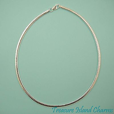 """16"""" 4mm Omega .925 Solid Sterling Silver Chain Necklace Choker MADE IN ITALY"""