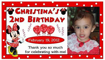12 MINNIE MOUSE RED BIRTHDAY PARTY FAVORS PHOTO MAGNETS