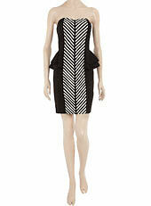 Womens Ladies New Black With STRIPED PANEL Peplum Dress (Sizes 8 - 16)
