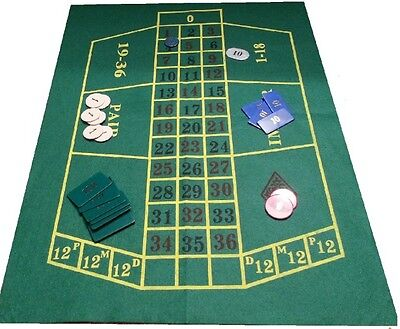 Green Roulette Casino Cloth - Layout - Baize Free P+P