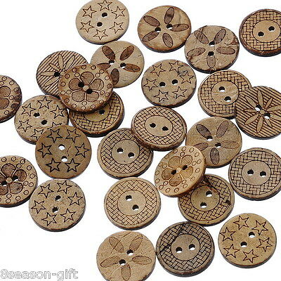 100 Mixed Pattern Coconut Shell 2Holes Sewing Buttons Scrapbooking 18mm B20360