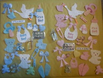 25 Baby Girl Or Boy Theme Mix Card Making Scrapbooking Embellishments Toppers
