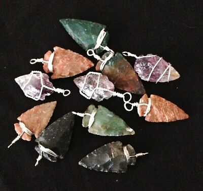 Arrowhead Amulet Pendant, Natural Crystal Gemstone Mineral, Various styles