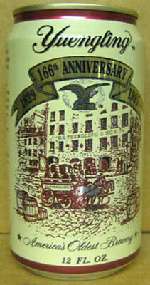 YUENGLING LAGER BEER Can 166th Year, 1995, PENNSYLVANIA Brewery Scene Grade 1/1+