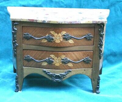 French Loius XV Inlaid Walnut Minature Commode MAGNIFICENT MUST LOOK