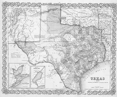 1856 TEXAS MAP TX Escobares Evadale Everman Fairchilds Fairfield Falfurrias HUGE