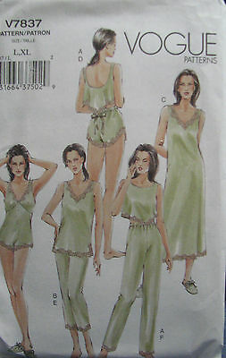 VOGUE V7837 MISSES/MP LACE TRIMMED UNDERGARMENTS (CAMISOLE TEDDY,ETC) PATTERN