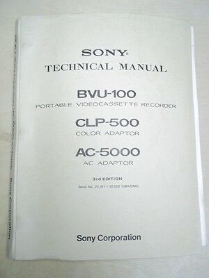 Sony Technical/Service/Operating Manual~BVU-100 VCR Video Cassette Recorder