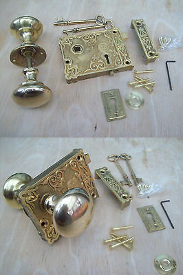 Fancy Ornate Decorative Old Victorian Style Solid Brass Door Rim Lock Knob Set