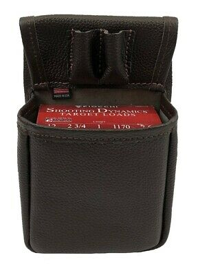 Genuine LEATHER SHOTGUN SHELL SKEET / TRAP SHOOTING POUCH - BROWN