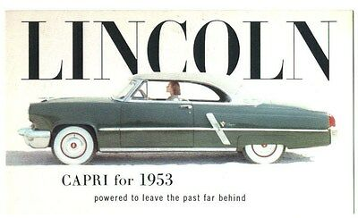 1953  2 door Lincoln Capri Factory Car Postcard  Blue Green with White top