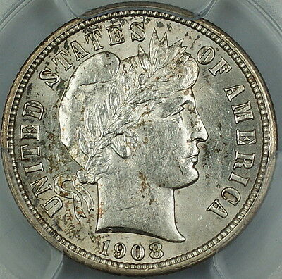 1908 Barber Silver Dime 10c, PCGS Genuine AU Details (Cleaning)