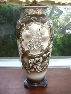 Vtg Mid Century Hollywood Regency Japanese Asian Satsuma Moriage Geisha Lamp
