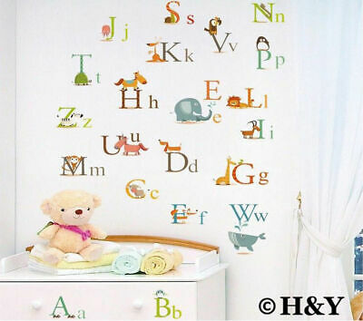 26 Animals Alphabet Removable Educational Wall Stickers Kids Nursery Vinyl Decal