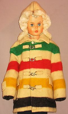 VINTAGE RARE CHILDRENS HUDSON BAY BLANKET COAT w/HOOD ZIPPER FRONT METAL HOOKS