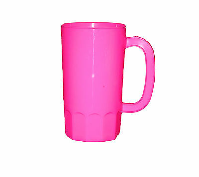 8 Large 32 oz Pink Plastic Beer Mugs Made America Dishwasher Safe Top Shelf