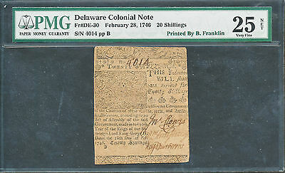 Fr De-30 Ben Franklin Delaware Colonial Note 2-28-1746 Finest Known Wl1829 Key