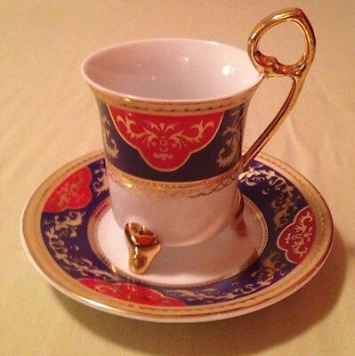 Yamasen Gold Collection Fine Porcelain 24 CT Gold Plated Cup And Saucer-Set Of 4