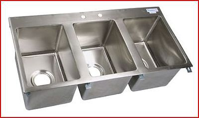 Concession 3 bowl sink drop in 10x14x10 bowls faucet and drains with strainers