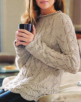 "Stunning Tunic DK Knitting Pattern Fancy Lace with Scalloped Borders 32"" - 42"""