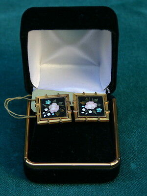 Pietra Dura 19 Century Italian & 18K Yellow Gold Earrings  MAGNIFICENT