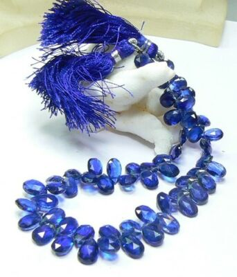 FACETED KYANITE BRIOLETTE TEARDROP BEADS STRAND 84ctw NATURAL DEEP ROYAL BLUE