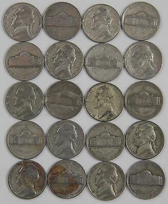 Circulated $2 face 1942-1945 FULL ROLL of 40 Jefferson War Nickels 35/% Silver