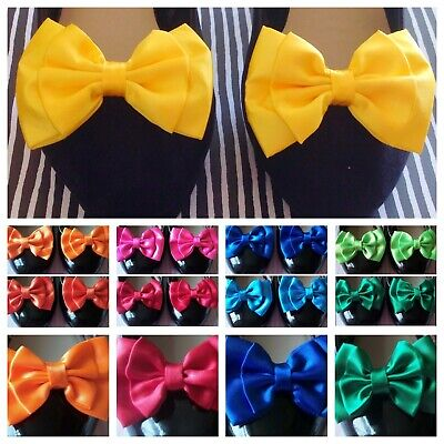 PAIR BRIGHT SATIN BOW SHOE CLIPS VINTAGE STYLE GLAMOUR BOWS 50s PARTY PROM BRIDE