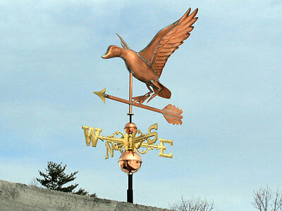 Sweet Duck Weathervane W/copper Balls & Brass Directionals Made In The Usa #460S