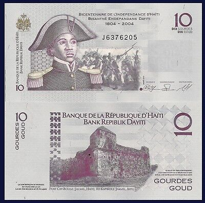 Haiti P272a, 10 Gourde, Woman Military Hero / Fort Cap Rouge (Jacmel) see UV UNC
