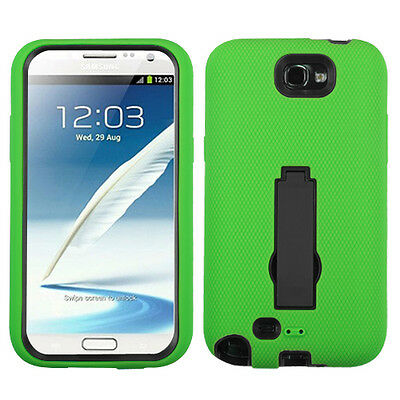 Green Bk Kickstand Heavy Duty Hybrid Samsung Galaxy Note II 2 Cover Rubber Case
