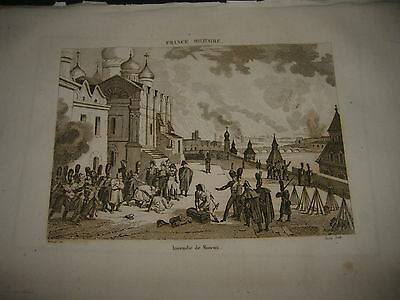 1836 Beautiful Engraving Fire In Moscow Russian Russia Moscou
