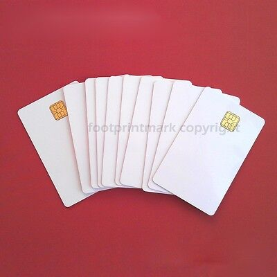 10 PCs Contact IC card 4428 Chip Smart Card  PVC  Blank White